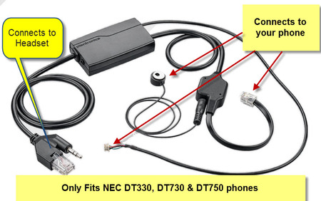NEC APN-91 EHS Cable for Plantronics Wireless Headsets