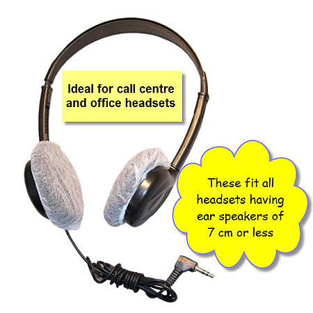 100 Small Disposable White Headset Covers